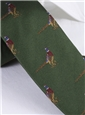 Silk Woven Pheasant Motif Tie in Field