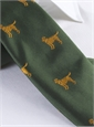 Silk Woven Tie with a Labrador Motif in Forest with Marigold