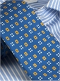 Silk Print Neat Square Tie in Royal with Saffron