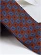 Silk Madder Print Tie with Diamond Motif in Chestnut