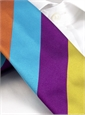 Silk Multi Color Stripe Tie in Jade, Fuchsia, Saffron, Navy, and Orange