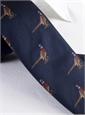 Silk Woven Pheasant Motif Tie in Navy