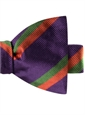 Woven Silk Double Striped Bow Tie in Violet