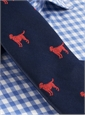 Silk Woven Tie with a Labrador Motif in Navy