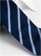 Silk Stripe Tie in Silver and Cobalt