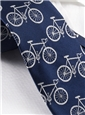 Silk Woven Bike Motif Tie in Navy