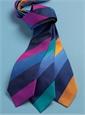 Silk Woven Multi Stripe Tie in Fuchsia, Azure, Navy