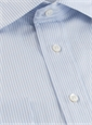 170's Blue and White Bengal Stripe Spread Collar