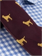 Silk Woven Tie with a Labrador Motif in Bordeaux