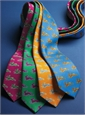 Silk Print Tie with Rabbit Motif in Kelly