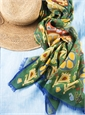 Cotton and Cashmere Blend Ikat Scarf in Leaf