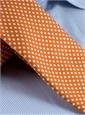 Silk Print Dot Motif Tie in Tangerine