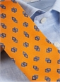 Silk Print Double Diamond Tie in Marigold