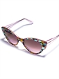Cateye Sunglasses in Black and Pink Floral with Teal Dots