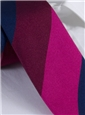 Silk Block Stripe Tie in Cranberry, Magenta, and Navy