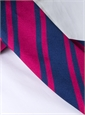 Silk Stripe Tie in Navy and Magenta