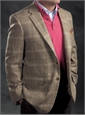 Beige and Nutmeg Glen Plaid Wool Sport Coat with Multi-Color Windowpane