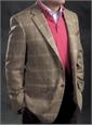 Beige and Nutmeg Glen Plaid Wool Sport Coat with Multi-Color Windowpane