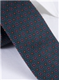 Silk Printed Madder Tie With Flower Motif in Forest