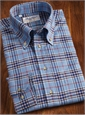 Sky and Navy Flannel Plaid Button Down