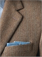 Cream and Brown Herringbone Cashmere Sport Coat