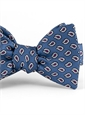 Silk Print Small Paisley Motif Bow Tie in Lapis