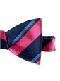 Silk Stripe Bow Tie in Magenta