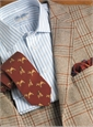 Cream and Coffee Houndstooth Lambswool Sport Coat with Spice Windowpane