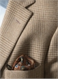 Cream and Straw Glen Plaid Wool Sport Coat