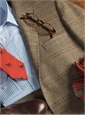 Burnt Orange, Charcoal and Tan Glen Plaid Sport Coat in Wool and Cashmere