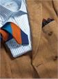 White & Sky Blue University Stripe Spread Collar