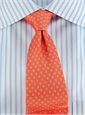 Silk Print Tie with Square Motif in Nasturtium