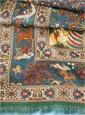 Cotton and Cashmere Blend Flora Fauna Scarf in Denim