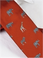 Jacquard Woven Animal Motif Tie in Chili