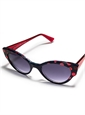 Cateye Sunglasses in Navy with Red Dots