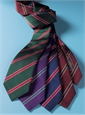 Silk Stripe Tie in Claret and Navy