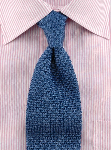 How To Knit A Tie Pattern : Classic Silk Knit Tie in Slate Blue