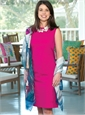 Ladies Cotton Shift Dress in Fuchsia