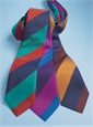 Silk Multi Color Stripe Tie in Oak, Prune and Navy