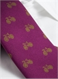 Silk Print Bicycle Motif Tie in Magenta with Lime