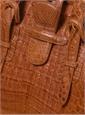 Doctor Bag in Light Peanut Caiman Crocodile