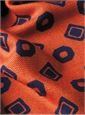 Silk and Wool Neat Print Scarf in Orange and Royal