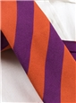 Silk Woven Block Stripe Tie in Orange and Purple