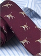 Silk Woven Tie with a Pointer Motif in Cardinal
