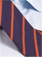 Mogador Silk Bar Stripe Tie in Purple with Orange