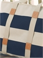 Canvas Striped Tote in Navy