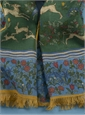 Cotton and Cashmere Blend Hunter Print Scarf in Forest