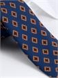 Wool Diamond Printed Tie in Marine Blue
