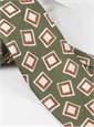 Silk and Linen Square Motif Tie in Green