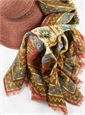 Cotton and Cashmere Blend Aztec Scarf in Brick
